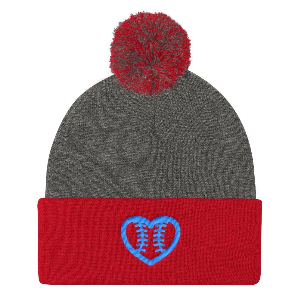 Fastpitch Softball Heart Seams Pom Pom Knit Cap