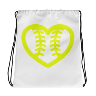 Fastpitch Softball Heart Seams Drawstring Bag