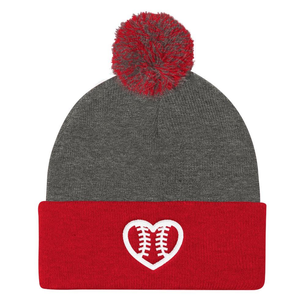 Softball Seams Heart Fastpitch Embroidered Logo Pom Pom Knit Cap
